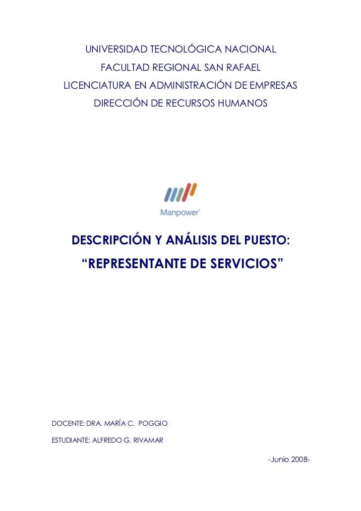 UNIVERSIDAD TECNOLÓGICA NACIONAL              FACULTAD REGIONAL SAN RAFAEL    LICENCIATURA EN ADMINISTRACIÓN DE EMPRESAS  ...