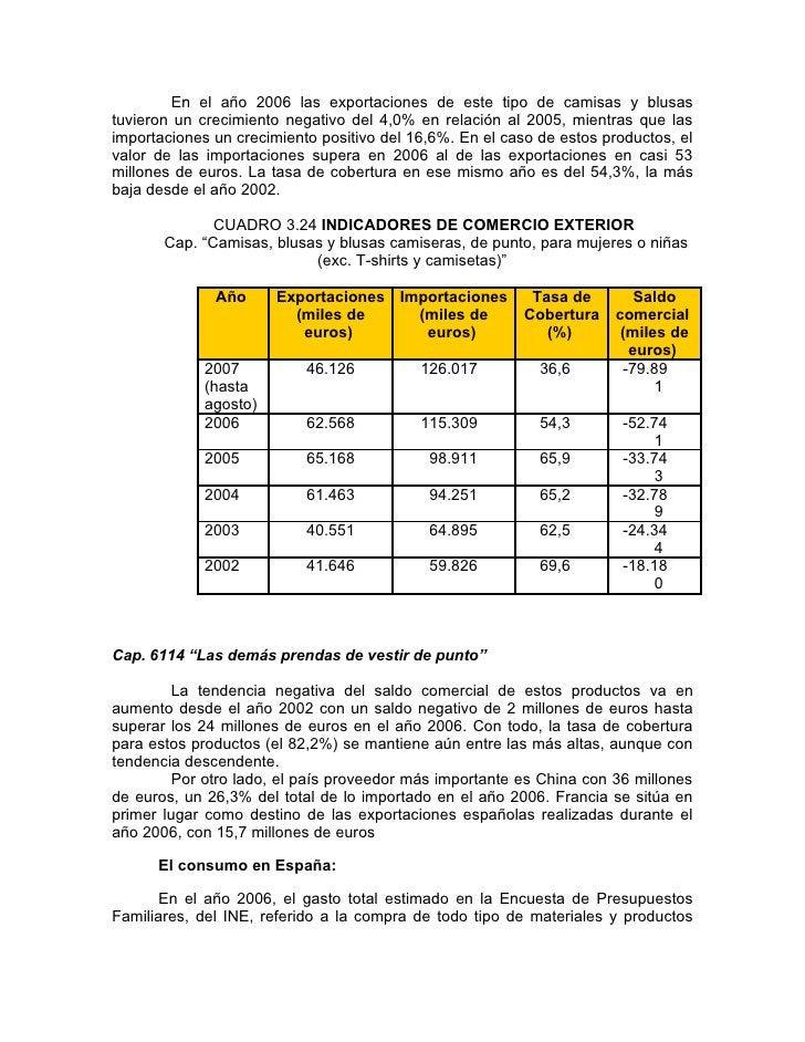 En el año 2006 las exportaciones de este tipo de camisas y blusas tuvieron un crecimiento negativo del 4,0% en relación al...