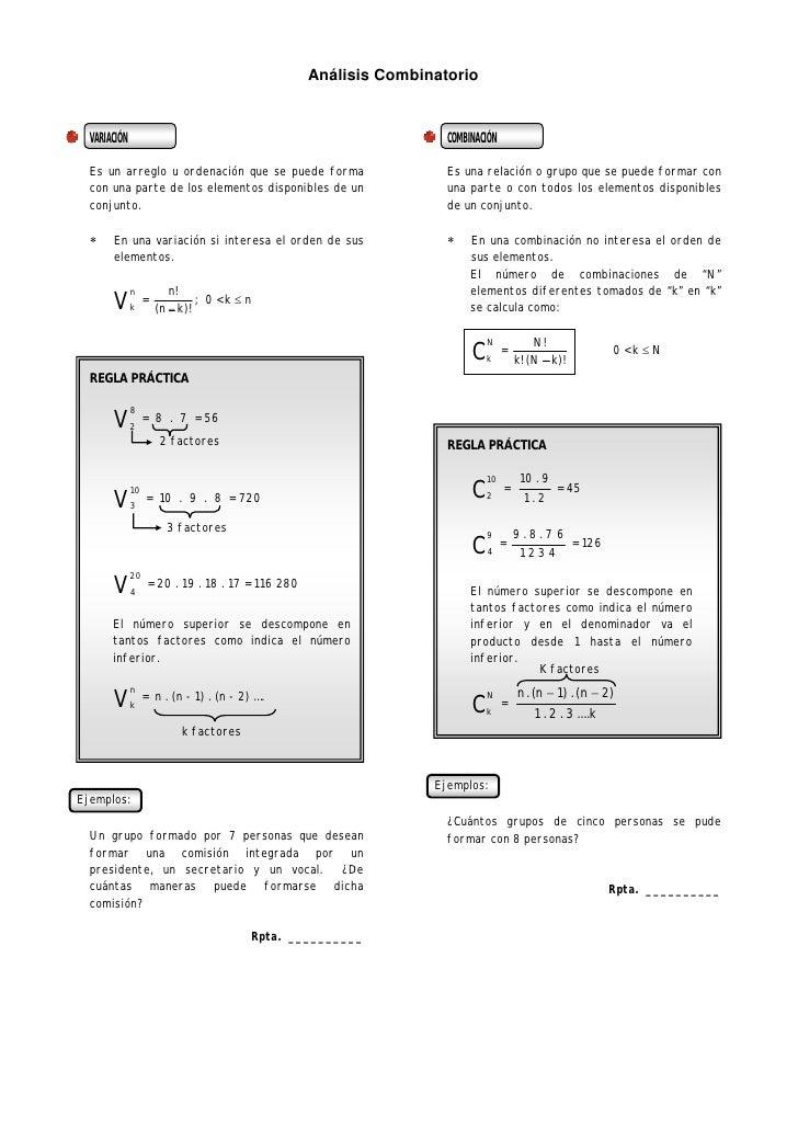Análisis Combinatorio     VARIACIÓN                                                          COMBINACIÓN    Es un arreglo ...