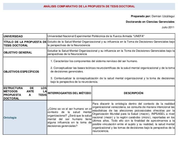 ANÁLISIS COMPARATIVO DE LA PROPUESTA DE TESIS DOCTORAL                                                                    ...