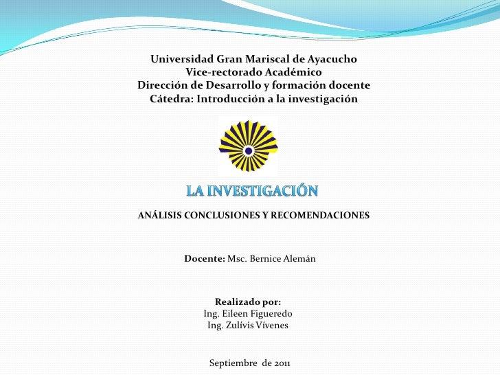 Universidad Gran Mariscal de Ayacucho<br />Vice-rectorado Académico<br />Dirección de Desarrollo y formación docente<br />...