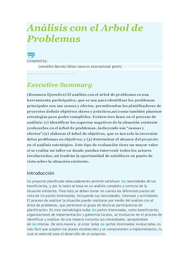 Análisis con el Arbol de Problemas Compiled by: Leonellha Barreto Dillon (seecon international gmbh)  Executive Summary (R...