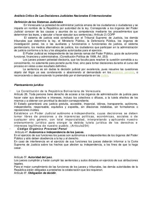 Análisis Crítico De Las Decisiones Judiciales Nacionales E Internacionales Definición de los Sistemas Judiciales En Venezu...