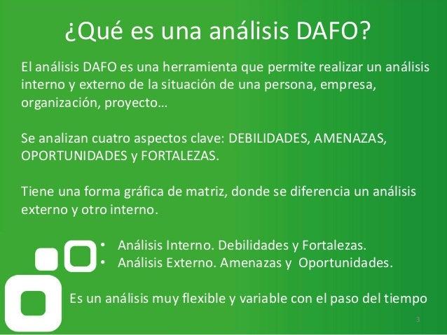 ¿Qué es una análisis DAFO? 3 El análisis DAFO es una herramienta que permite realizar un análisis interno y externo de la ...