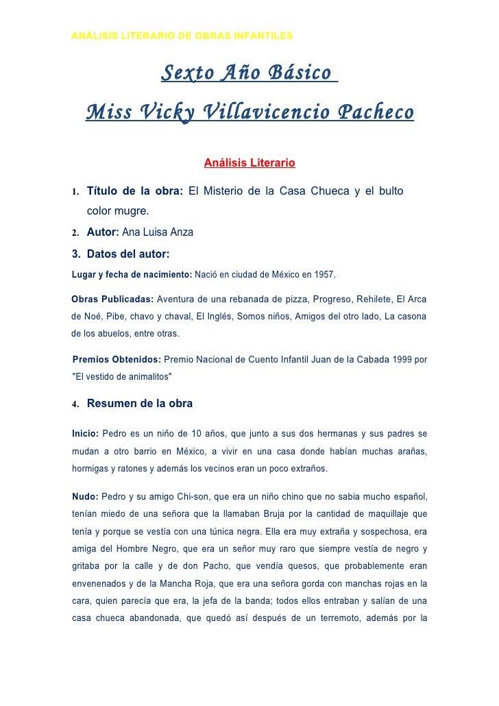 ANÁLISIS LITERARIO DE OBRAS INFANTILES                          Sexto Año Básico    Miss Vicky Villavicencio Pacheco      ...