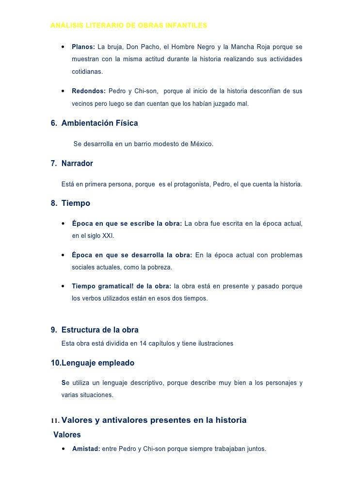 ANÁLISIS LITERARIO DE OBRAS INFANTILES     •   Planos: La bruja, Don Pacho, el Hombre Negro y la Mancha Roja porque se    ...