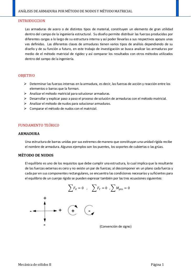 Análisis de armadura por método de nodos y método matricial Slide 2