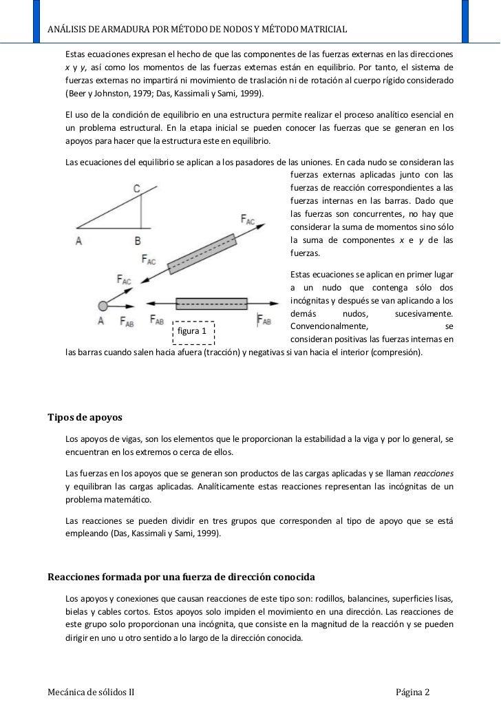 Análisis de armadura por método de nodos y método matricial Slide 3
