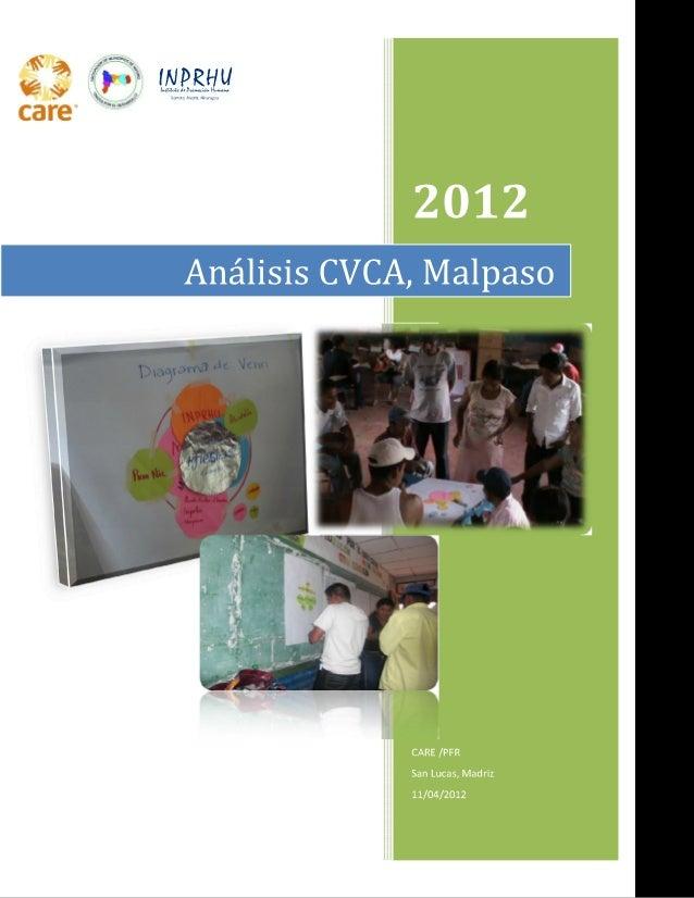 g Análisis CVCA,  Malpaso                  CARE/ PFR San Lucas, nAadru  11/04/2012