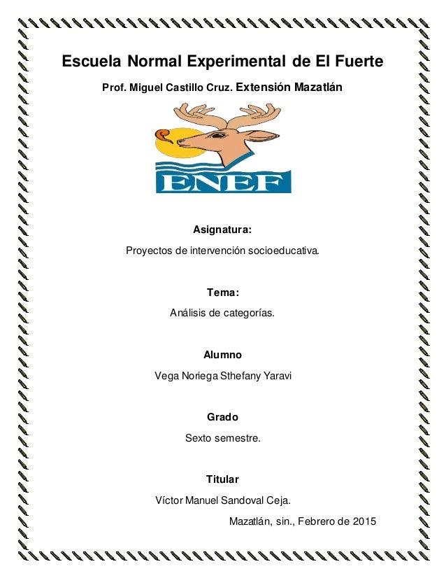 Escuela Normal Experimental de El Fuerte Prof. Miguel Castillo Cruz. Extensión Mazatlán Asignatura: Proyectos de intervenc...