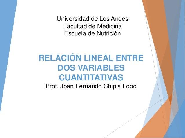 RELACIÓN LINEAL ENTRE DOS VARIABLES CUANTITATIVAS Prof. Joan Fernando Chipia Lobo Universidad de Los Andes Facultad de Med...
