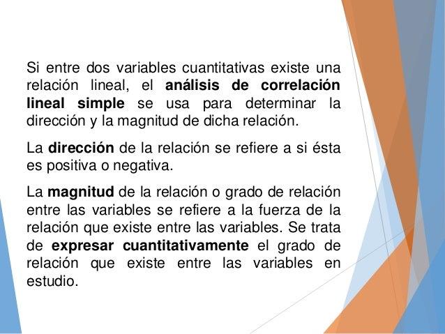 Si entre dos variables cuantitativas existe una relación lineal, el análisis de correlación lineal simple se usa para dete...