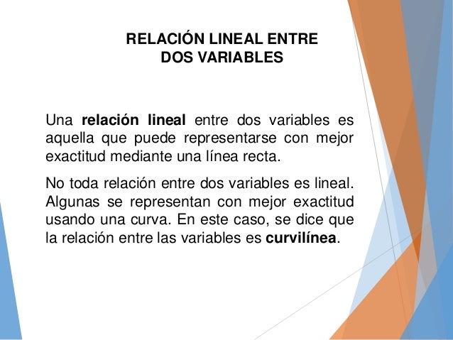 Una relación lineal entre dos variables es aquella que puede representarse con mejor exactitud mediante una línea recta. N...