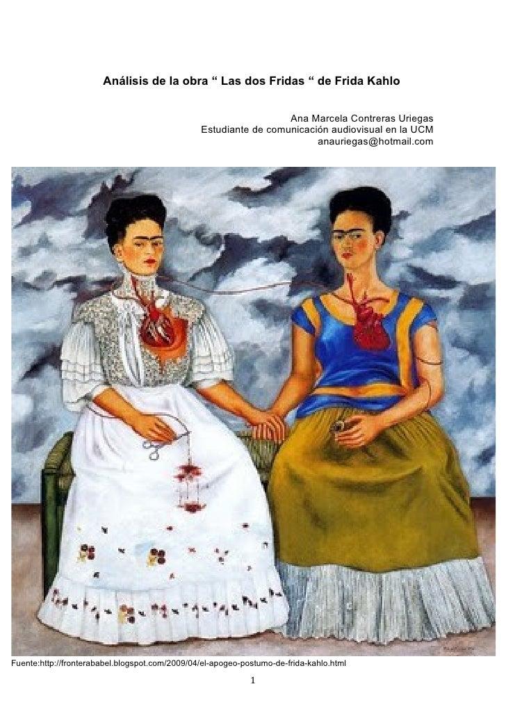 """Análisis de la obra """" Las dos Fridas """" de Frida Kahlo                                                                  Ana..."""