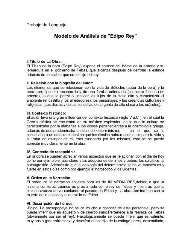 """Trabajo de Lenguaje: Modelo de Análisis de """"Edipo Rey"""" I. Título de La Obra: El Título de la obra (Edipo Rey) expone el no..."""