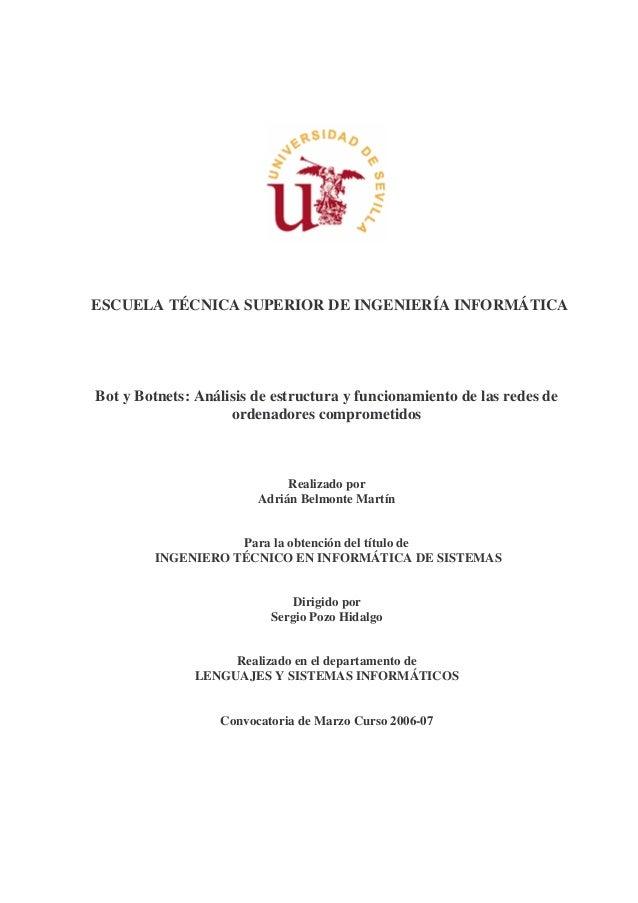ESCUELA TÉCNICA SUPERIOR DE INGENIERÍA INFORMÁTICABot y Botnets: Análisis de estructura y funcionamiento de las redes de  ...