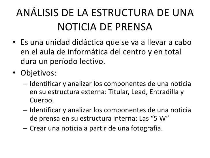 Análisis De La Estructura De Una Noticia De