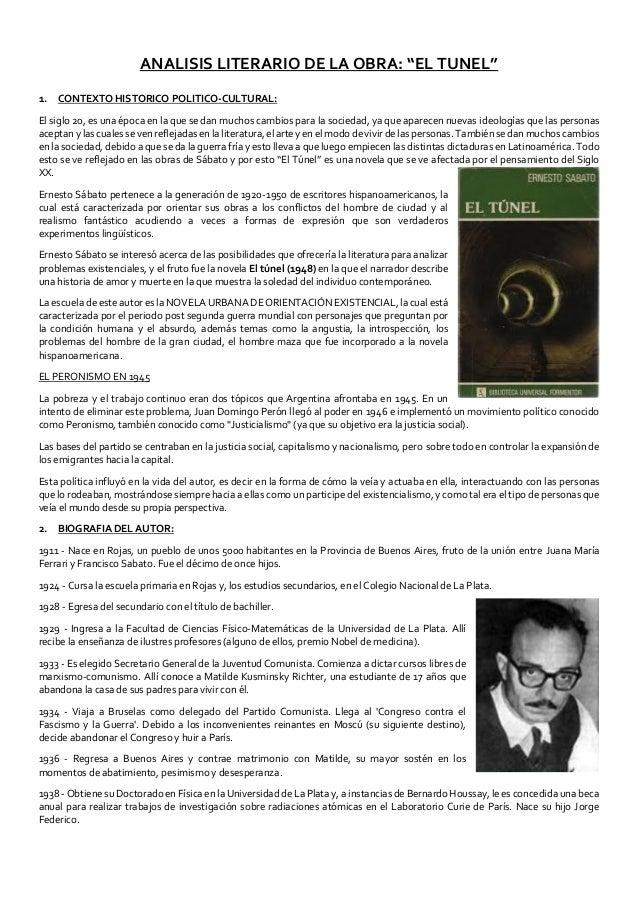 """ANALISIS LITERARIO DE LA OBRA: """"EL TUNEL"""" 1. CONTEXTO HISTORICO POLITICO-CULTURAL: El siglo 20, es una época en la que se ..."""