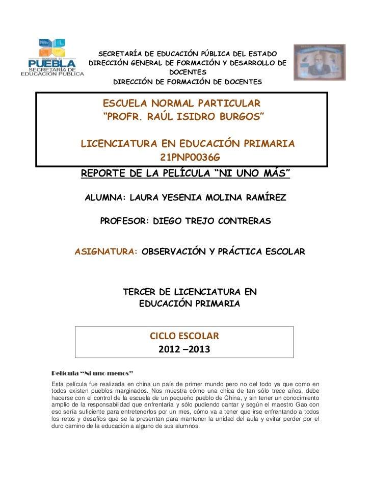 SECRETARÍA DE EDUCACIÓN PÚBLICA DEL ESTADO             DIRECCIÓN GENERAL DE FORMACIÓN Y DESARROLLO DE                     ...