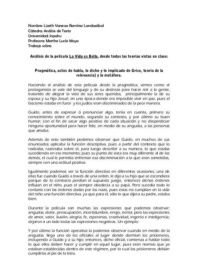 Nombre: Lizeth Vanessa Ramírez Landazábal Cátedra: Análisis de Texto Universidad: Inpahu Profesora: Martha Lucía Moya Trab...