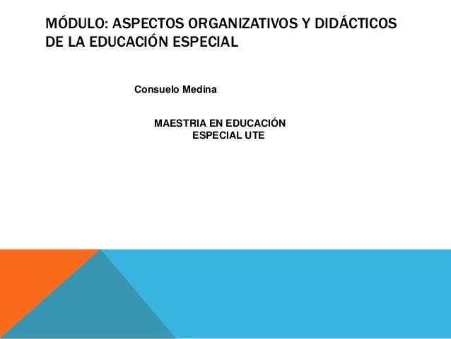 MÓDULO: ASPECTOS ORGANIZATIVOS Y DIDÁCTICOS DE LA EDUCACIÓN ESPECIAL Consuelo Medina MAESTRIA EN EDUCACIÓN ESPECIAL UTE