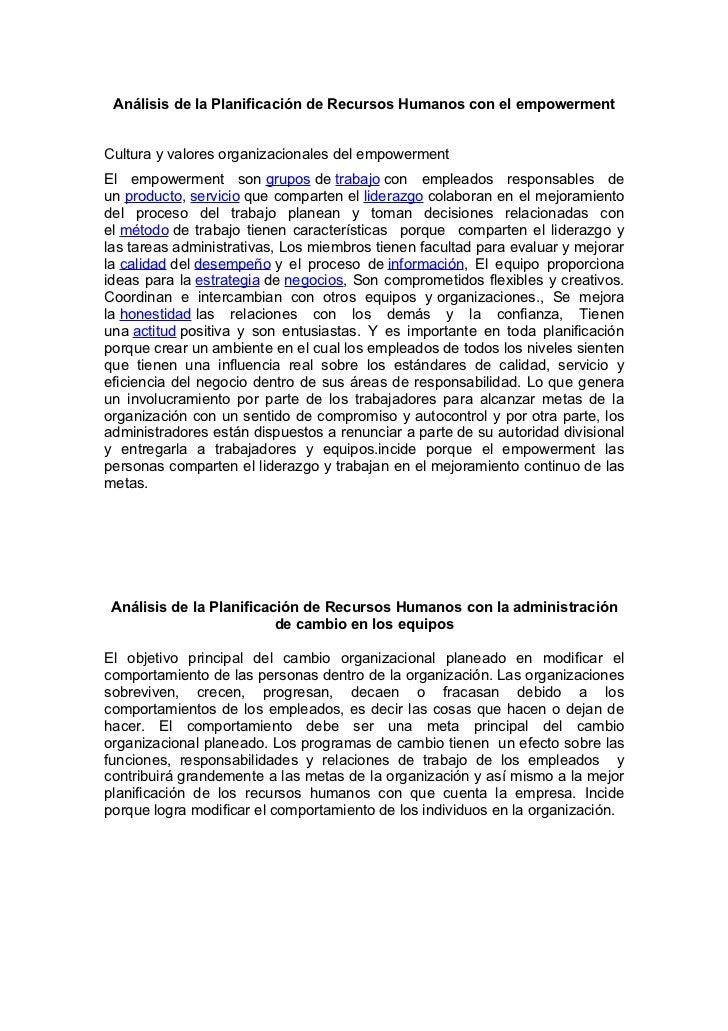 Análisis de la Planificación de Recursos Humanos con el empowermentCultura y valores organizacionales del empowermentEl em...