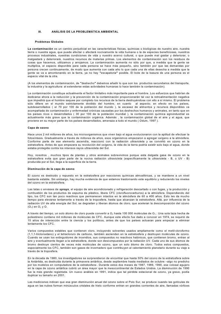 II.         III.      ANÁLISIS DE LA PROBLEMÁTICA AMBIENTAL        Problemas Globales  La contaminación es un cambio perju...