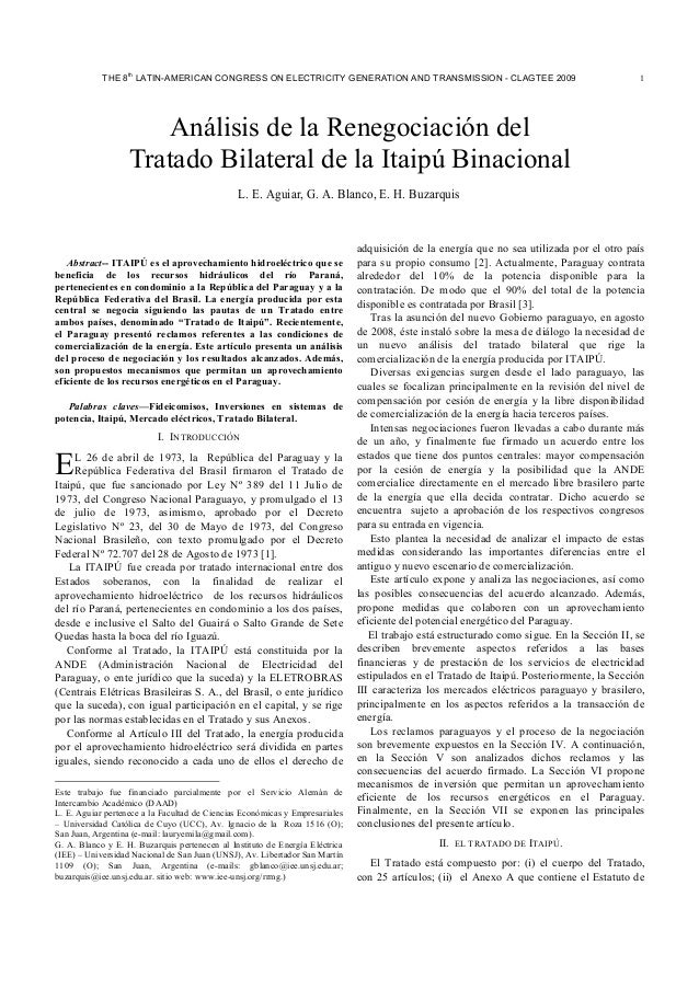 th  THE 8 LATIN-AMERICAN CONGRESS ON ELECTRICITY GENERATION AND TRANSMISSION - CLAGTEE 2009  1  Análisis de la Renegociaci...