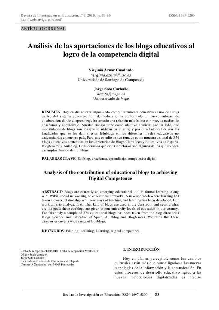 Revista de Investigación en Educación, nº 7, 2010, pp. 83-90                                         ISSN: 1697-5200http:/...
