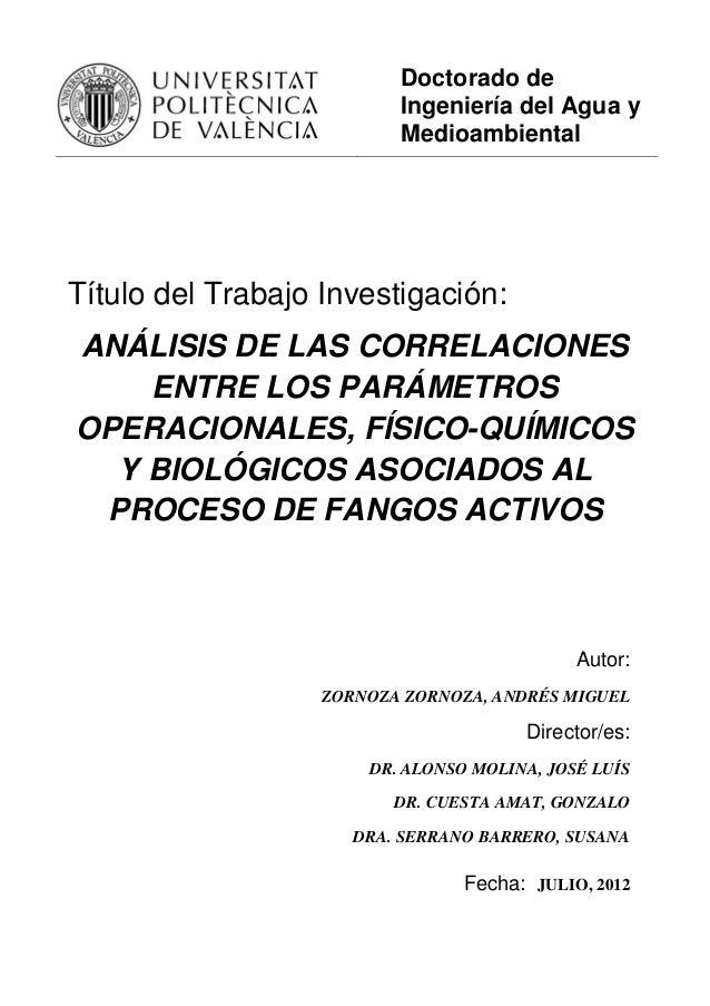 Doctorado de Ingeniería del Agua y Medioambiental Título del Trabajo Investigación: ANÁLISIS DE LAS CORRELACIONES ENTRE LO...