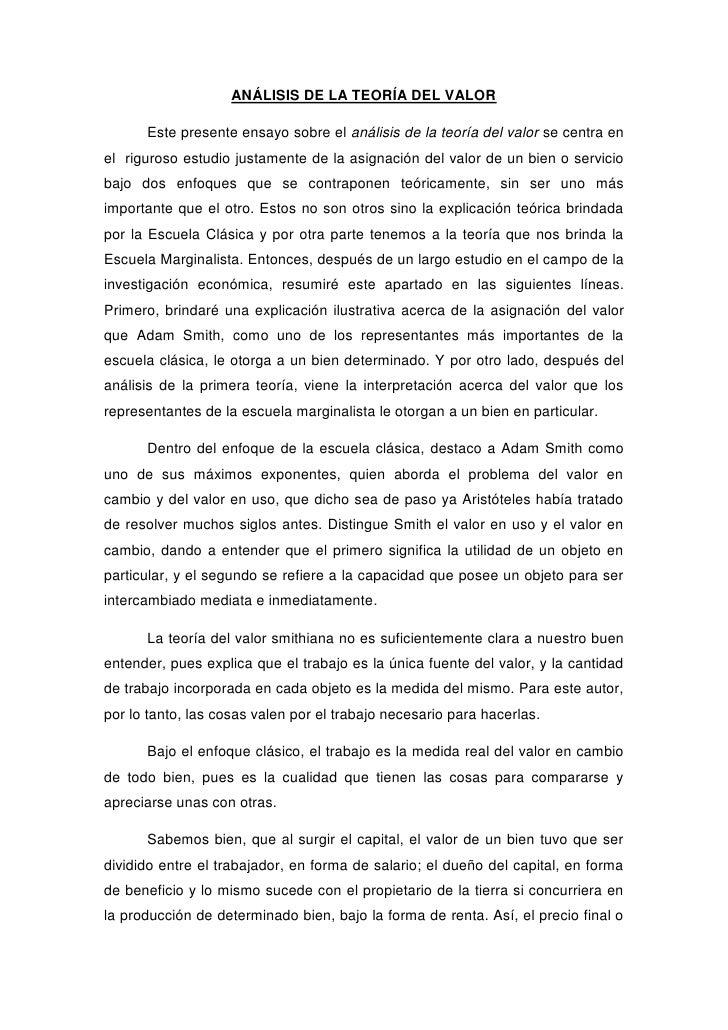 ANÁLISIS DE LA TEORÍA DEL VALOR      Este presente ensayo sobre el análisis de la teoría del valor se centra enel riguroso...
