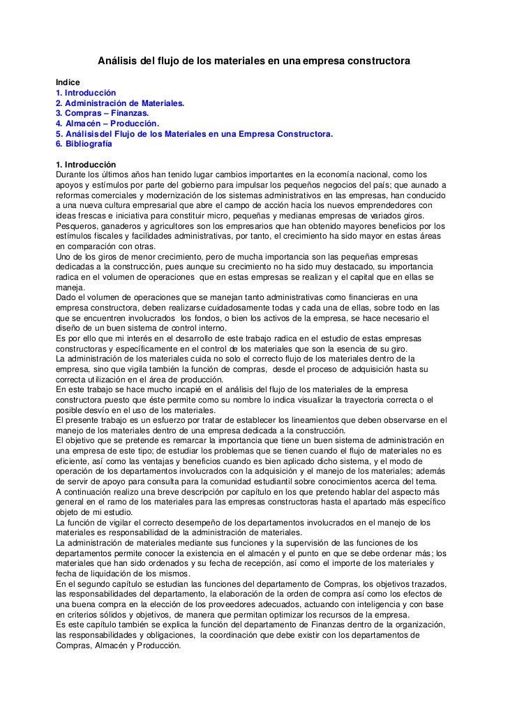 Análisis del flujo de los materiales en una empresa constructoraIndice1. Introducción2. Administración de Materiales.3. Co...
