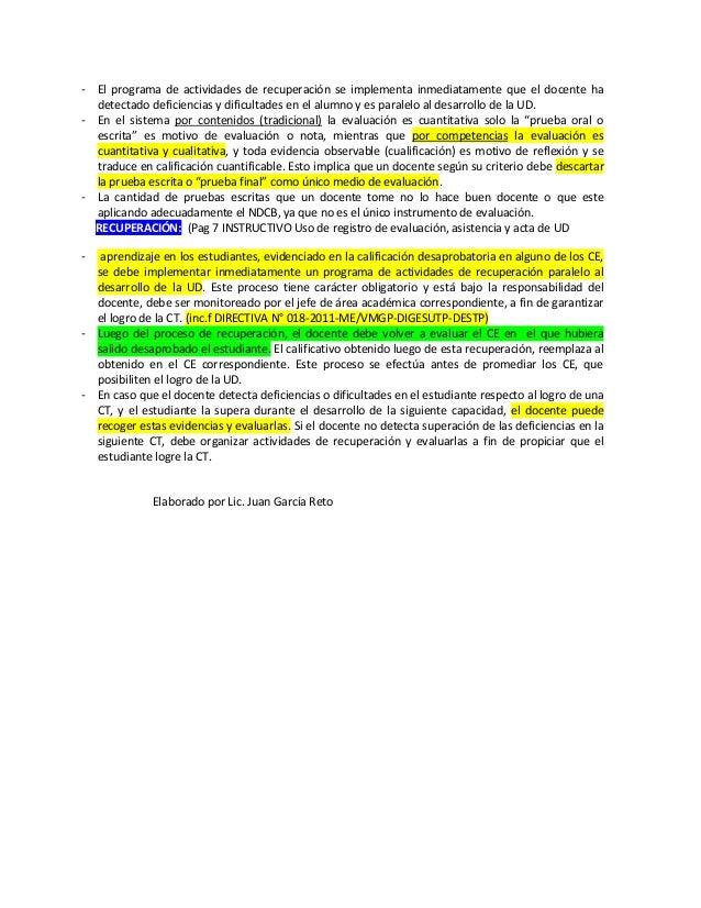 - El programa de actividades de recuperación se implementa inmediatamente que el docente hadetectado deficiencias y dificu...