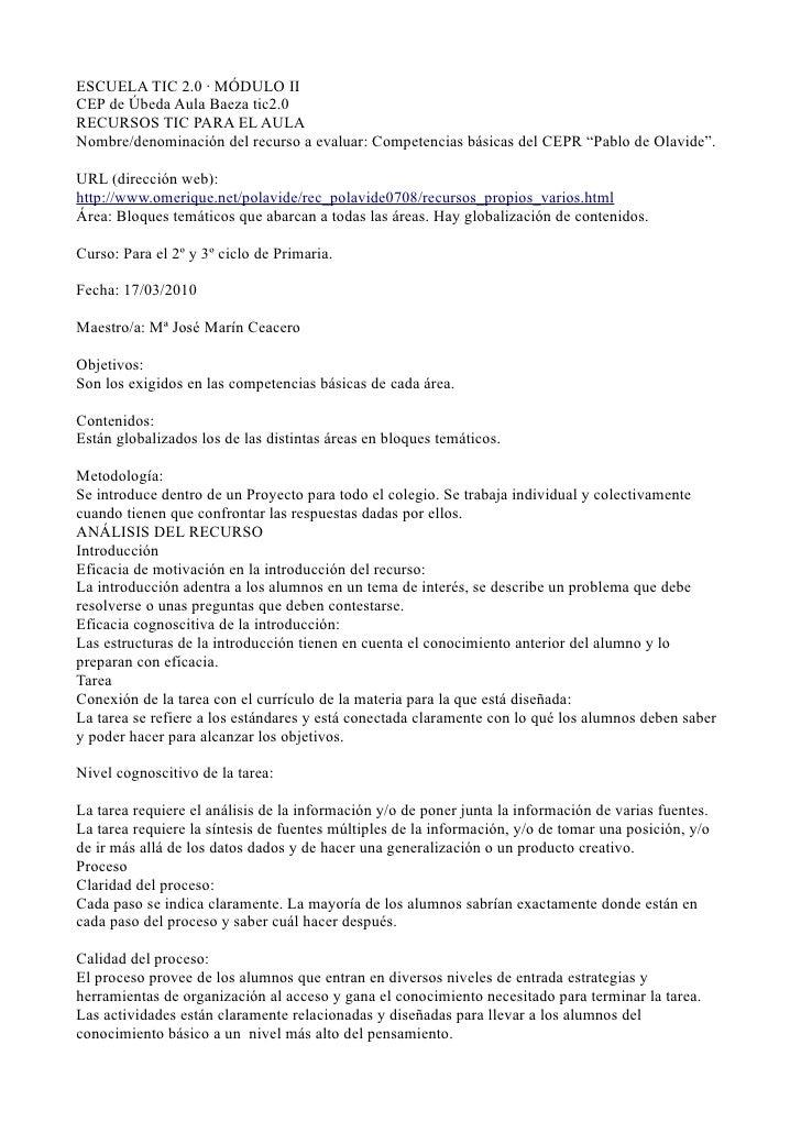 ESCUELA TIC 2.0 · MÓDULO II CEP de Úbeda Aula Baeza tic2.0 RECURSOS TIC PARA EL AULA Nombre/denominación del recurso a eva...