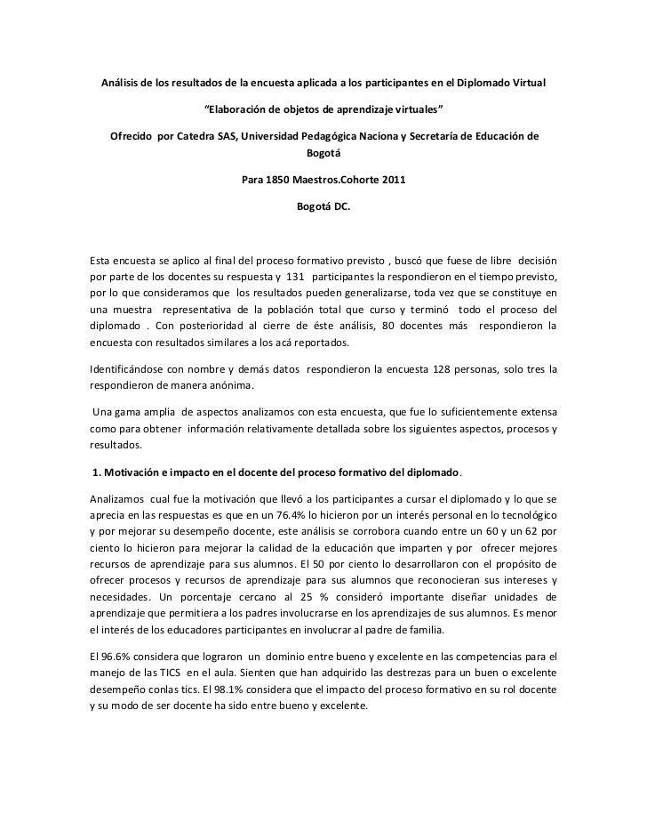"""Análisis de los resultados de la encuesta aplicada a los participantes en el Diplomado Virtual                        """"Ela..."""