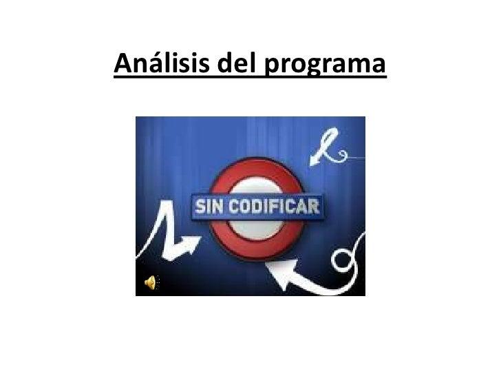 Análisis del programa<br />