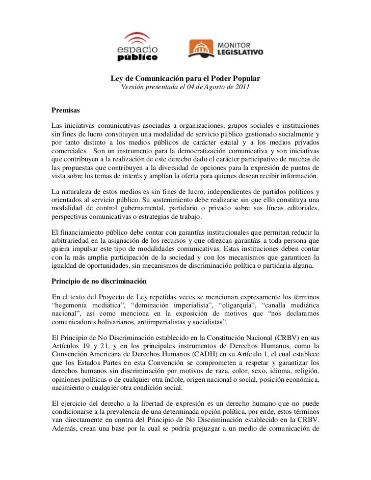 Ley de Comunicación para el Poder Popular                        Versión presentada el 04 de Agosto de 2011PremisasLas ini...