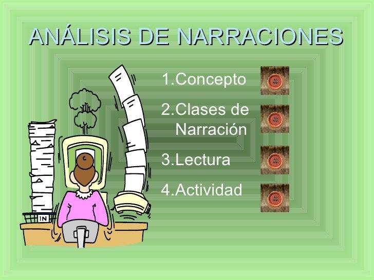 ANÁLISIS DE NARRACIONES <ul><li>Concepto </li></ul><ul><li>Clases de Narración </li></ul><ul><li>Lectura </li></ul><ul><li...
