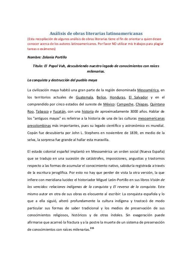 Análisis de obras literarias latinoamericanas (Esta recopilación de algunos análisis de obras literarias tiene el fin de o...