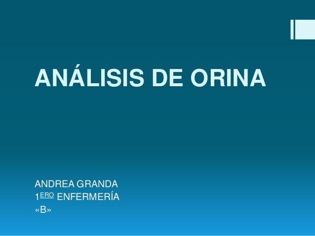 ANÁLISIS DE ORINA  ANDREA GRANDA 1ERO ENFERMERÍA «B»