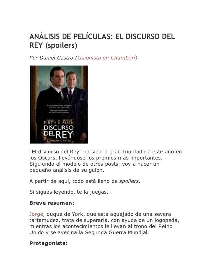 """ANÁLISIS DE PELÍCULAS: EL DISCURSO DELREY (spoilers)Por Daniel Castro (Guionista en Chamberí)""""El discurso del Rey"""" ha sido..."""