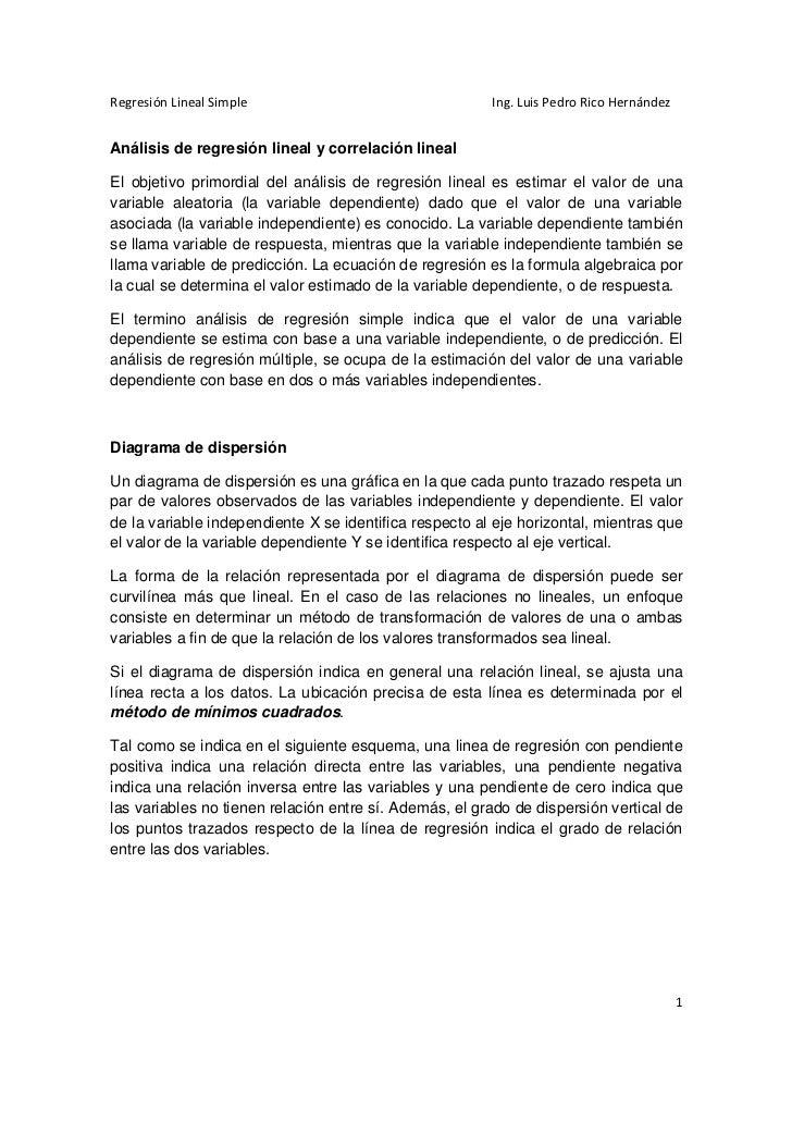 Regresión Lineal Simple                                 Ing. Luis Pedro Rico HernándezAnálisis de regresión lineal y corre...