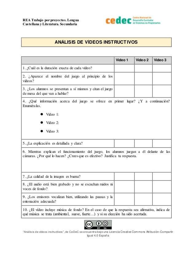 """REA Trabajo por proyectos.Lengua Castellana y Literatura. Secundaria """"Análisis de vídeos instructivos"""",de CeDeC se encuent..."""