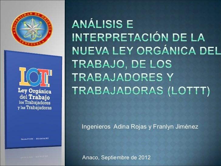 Ingenieros Adina Rojas y Franlyn JiménezAnaco, Septiembre de 2012
