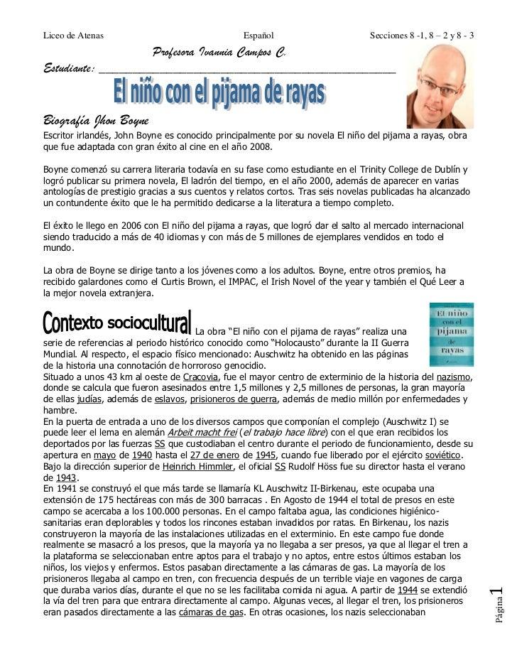 Liceo de Atenas                                   Español                        Secciones 8 -1, 8 – 2 y 8 - 3            ...
