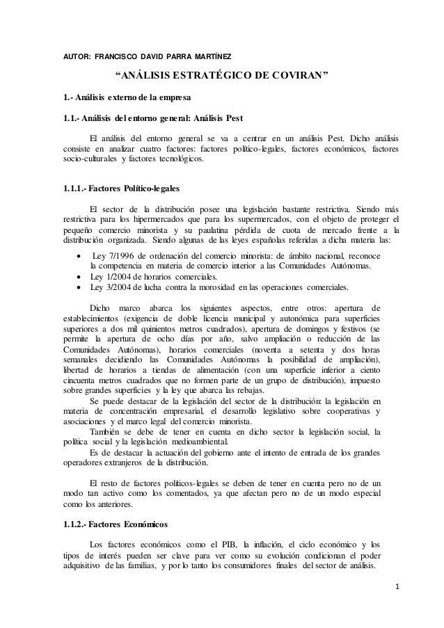 """1 AUTOR: FRANCISCO DAVID PARRA MARTÍNEZ """"ANÁLISIS ESTRATÉGICO DE COVIRAN"""" 1.- Análisis externo de la empresa 1.1.- Análisi..."""