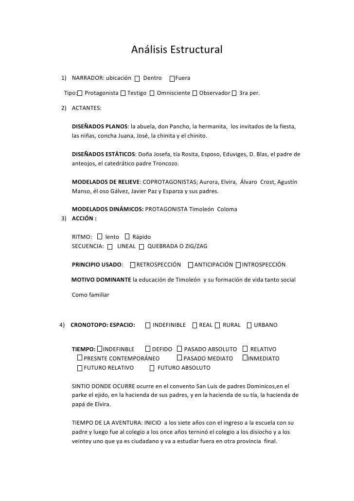 Análisis Estructural1) NARRADOR: ubicación        Dentro       Fuera Tipo:   Protagonista   Testigo    Omnisciente      Ob...