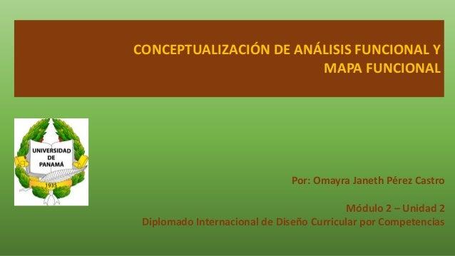 CONCEPTUALIZACIÓN DE ANÁLISIS FUNCIONAL Y MAPA FUNCIONAL Por: Omayra Janeth Pérez Castro Módulo 2 – Unidad 2 Diplomado Int...