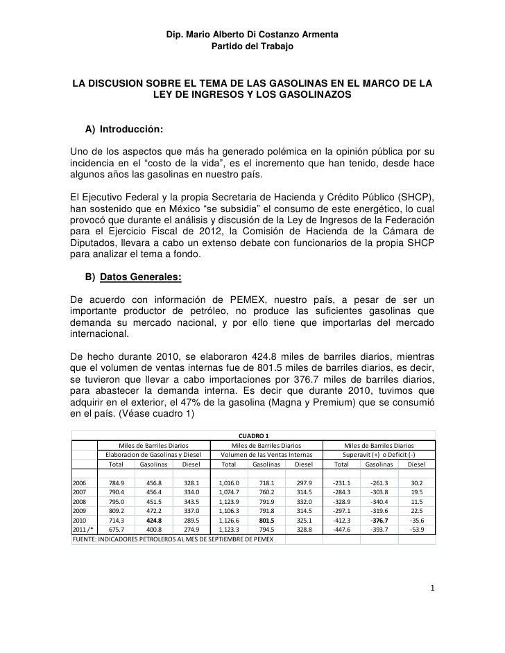 Dip. Mario Alberto Di Costanzo Armenta                                        Partido del TrabajoLA DISCUSION SOBRE EL TEM...