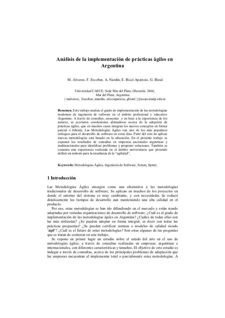 Análisis de la implementación de prácticas ágiles en                          Argentina              M. Alvarez, F. Escoba...